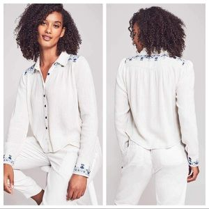 NWT Faherty Pompano Top Egret Embroidered L XL